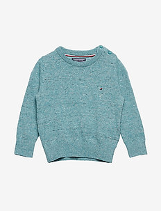 ESSENTIAL KIDS CREW NECK SWEATER - habits tricotés - green-blue slate