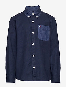 COMBI DENIM SHIRT L/ - BLACK IRIS