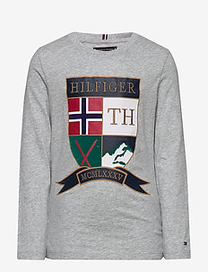 EMBROIDERED SHIELD T - long-sleeved t-shirts - grey heather