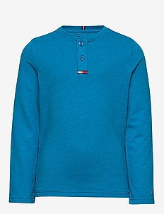 WAFFLE HENLEY TEE L/ - long-sleeved t-shirts - imperial blue