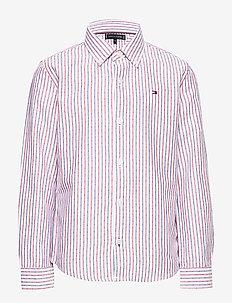 DOBBY STRIPE SHIRT L - shirts - white stripe 02/racing red