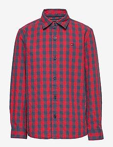 GINGHAM JAQUARD SHIRT L/S - shirts - red check 01