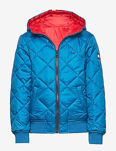 REVERSIBLE QUILTED HOODED BOMBER - puffer & padded - racing red/imperial blue