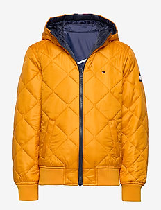 REVERSIBLE QUILTED HOODED BOMBER - puffer & padded - black iris/golden glow