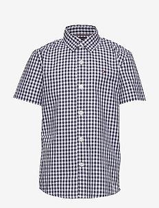 SLUB GINGHAM SHIRT S - shirts - twilight navy
