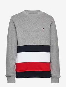 GLOBAL STRIPE COLORBLOCK CN - sweatshirts - mid grey htr colorblock