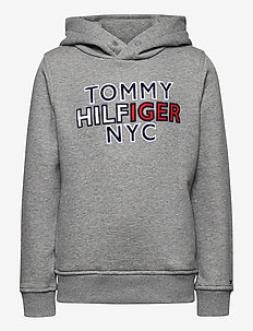 TH NYC GRAPHIC HOODIE - hettegensere - mid grey htr