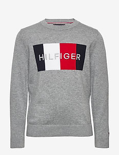 TH LOGO SWEATER - habits tricotés - mid grey htr