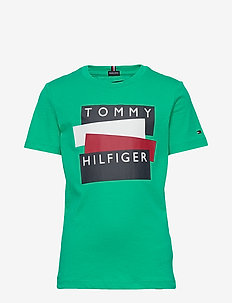 TOMMY HILFIGER STICKER TEE S/S - short-sleeved - cosmic green