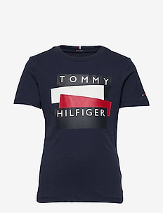 TOMMY HILFIGER STICKER TEE S/S - kortærmede - twilight navy