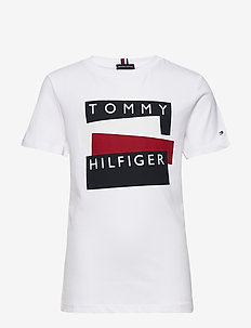 TOMMY HILFIGER STICKER TEE S/S - short-sleeved - white