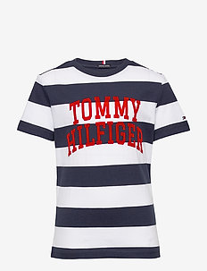 RUGBY STRIPE  GRAPHIC TEE S/S - short-sleeved - blue stripe 01/twilight navy