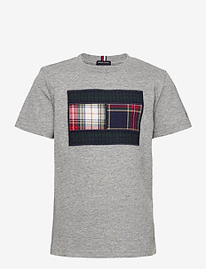 MIXED CHECK FLAG TEE S/S - korte mouwen - mid grey