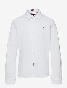 STRETCH PIQUE SHIRT L/S - white
