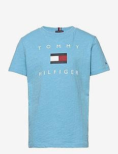 HILFIGER LOGO TEE S/S - korte mouwen - seashore blue