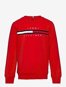 FLAG RIB INSERT SWEATSHIRT - sweatshirts & hoodies - deep crimson