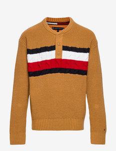 GLOBAL STRIPE HENLEY SWEATER - trøjer - vintage brass