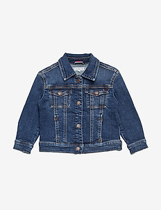 OVERSIZED TRUCKER FO - denimjakker - forest mid blue stretch