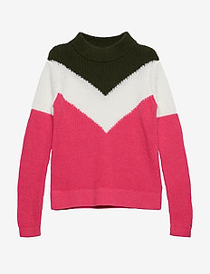 CHEVRON COLOR BLOCK SWEATER - knitwear - pink flambe/multi
