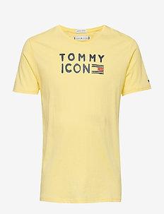 TOMMY FLAG ICON S/S TEE GLITTER - LEMONADE