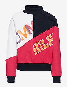 COLOR TEXT BLOCK SWE - sweatshirts - black iris / virtual pink