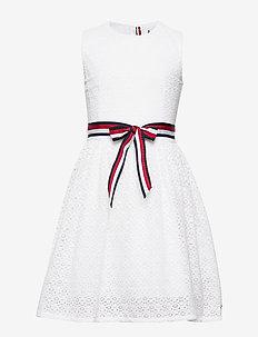 LACE STRIPE DRESS SL - BRIGHT WHITE