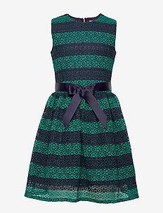 LACE STRIPE DRESS SL - robes - eclipse/ivy