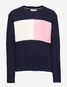 ESSENTIAL COLOURBLOCK SWEATER - knitwear - black iris