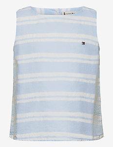SEERSUCKER STRIPE TOP SLVLS - blusar & tunikor - calm blue/ white