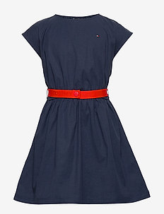 SOLID BELTED DRESS S/S - dresses - twilight navy
