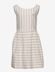 FLURO FINE STRIPE DR - dresses - white/ melon