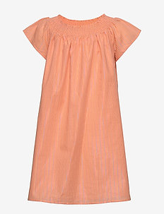 LUREX STRIPE DRESS S/S - dresses - melon orange