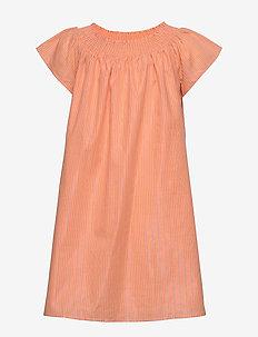 LUREX STRIPE DRESS S/S - robes - melon orange