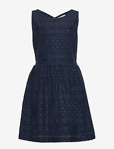 BRODERIE ANGLAISE DRESS SLVLS - robes - twilight navy