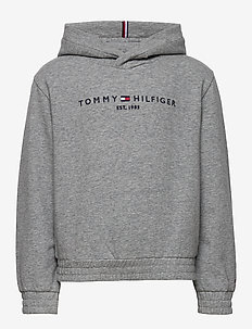 ESSENTIAL HOODED SWEATSHIRT - bluzy z kapturem - mid grey htr