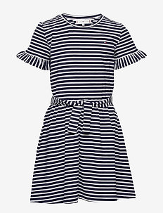 RUFFLE STRIPE JERSEY DRESS  S/S - dresses - twilight navy/ white