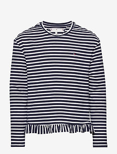 RUFFLE KNIT TOP L/S - long-sleeved t-shirts - twilight navy