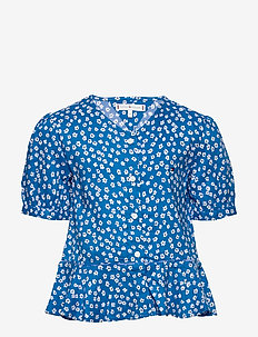 DITSY FLOWER PRINT SHIRT S/S - chemisiers & tuniques - dynamic blue/ ditsy flower