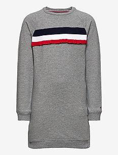RUFFLE RIB SWEAT DRESS L/S - kjoler - mid grey htr