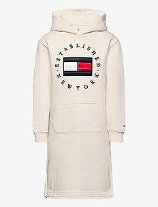 HERITAGE LOGO HOODIE DRESS L/S - dresses - ivory petal
