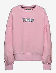 IRIDESCENT BADGE CREW SWEATSHIRT - sweatshirts - romantic pink
