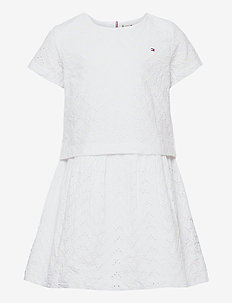 BRODERIE ANGLAISE DRESS S/S - kleider - white