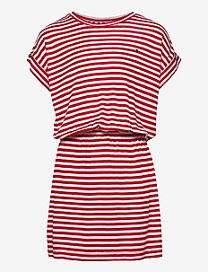 STRIPE DRESS S/S - dresses - deep crimson