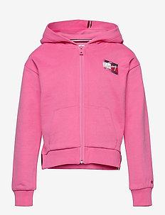 FLAG PRINT ZIP HOODIE - hoodies - exotic pink