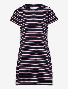 STRIPE RIB DRESS S/S - kleider - white / navy stripes