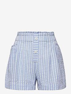 SEERSUCKER STRIPE SHORTS - shorts - calm blue