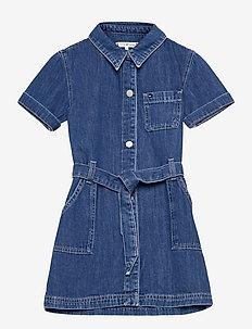 S/S TIE DENIM DRESS - kleider - cleanmed