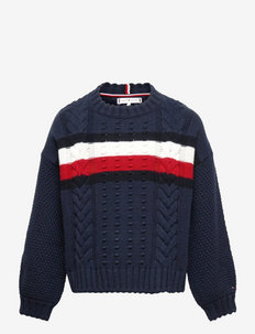 GLOBAL STRIPE CABLE CREW - jumpers - twilight navy