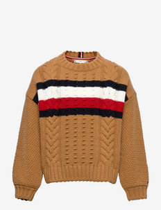 GLOBAL STRIPE CABLE CREW - jumpers - vintage brass