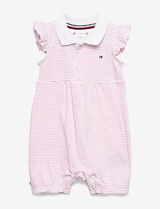 BABY GIRL STRIPE SHORTALL S/S - korte mouwen - sea pink/ bright white